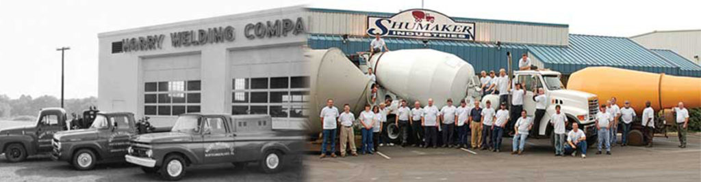 Old Harry Welding Company photo transitioning to team photo in front of Shumaker Industries