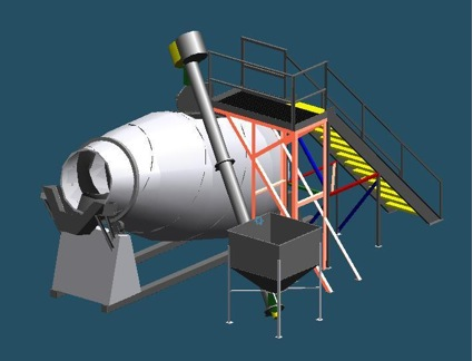 engineer drawing of a stainless steel food-grade mixer