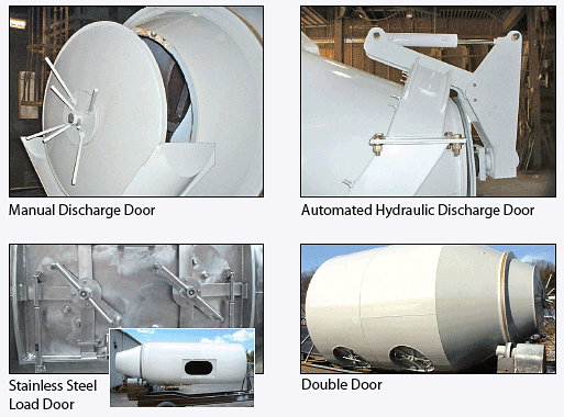 collage of various mushroom compost mixer options - manual discharge door, automated hydraulic discharge door, stainless steel load door, and double door